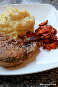 Pork chop, parsnip mash, roasted carrots