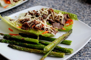 Steak lettuce wraps and roasted asparagus
