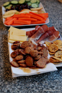 Veggie tray, sausage and cheese tray