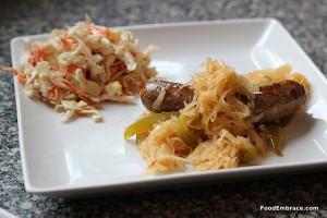 Brats, kraut, coleslaw