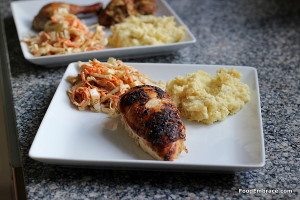 Chicken, cole slaw, parsnip mash