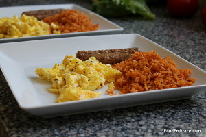 Eggs, rice, sausage
