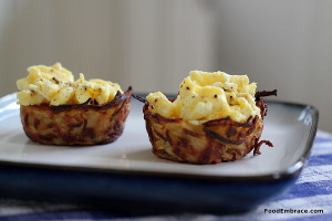 Potato nests and scrambled eggs