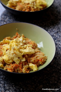Cauliflower fried rice with scrambled eggs