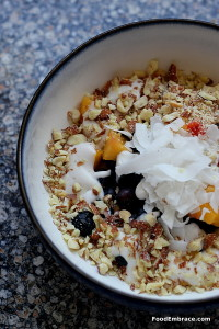 Fruit, coconut cream, almonds