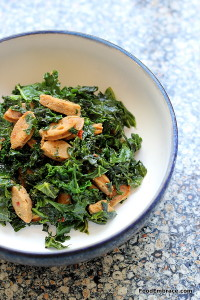 Kale, chicken sausage