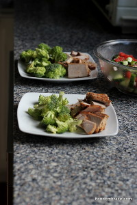 pork chop, broccoli, salad