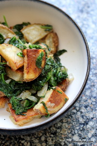 roasted potatoes and spinach