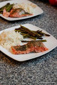 Salmon, asparagus, rice