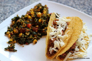 Tacos and sauteed greens