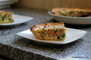 Veggie quiche with grain free crust