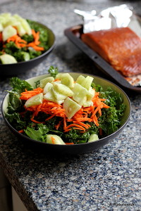 Kale salad, smoked salmon
