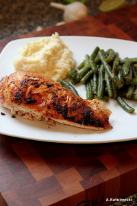 Roast chicken, green beans, parsnip mash