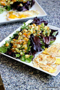 Fried eggs and side salad