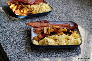 Scrambled eggs, sweet potato, bacon