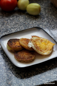 fried green tomatoes and fried egg