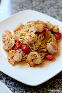 Lemon pepper shrimp zoodles