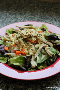 Salad with pulled chicken