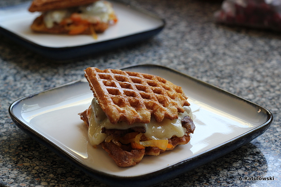 Steak and peppers on grain free waffles