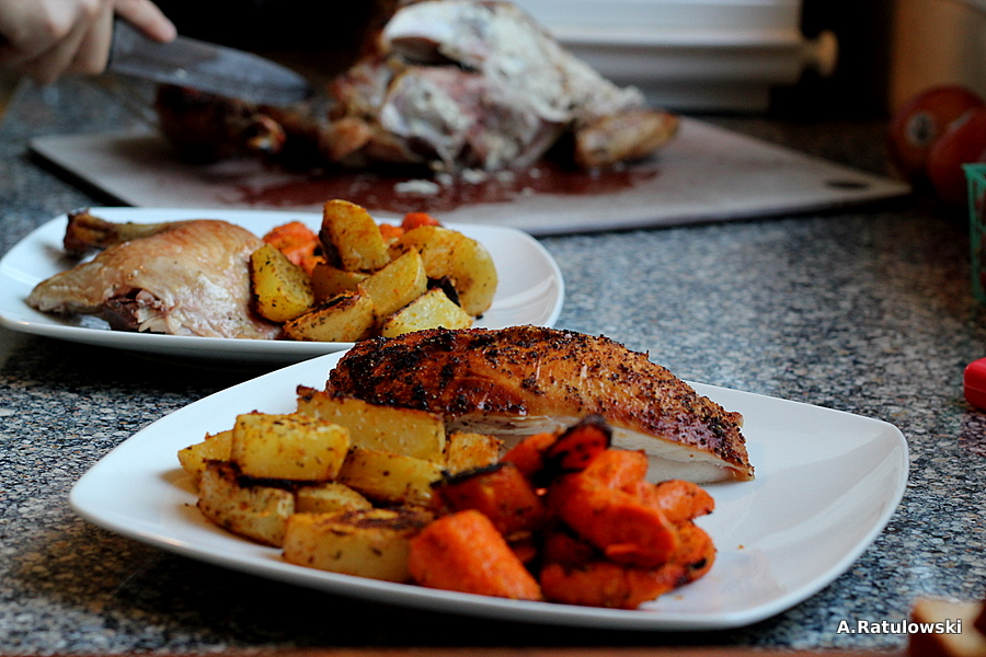 Roast chicken and roasted root veggies