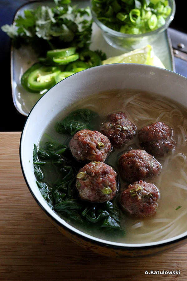 Asian Noodle Soup with 5 Spice Meatballs