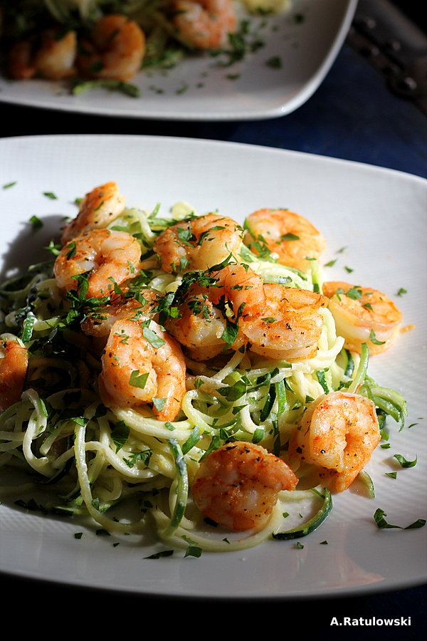 Lemon parmesan shrimp and zoodles
