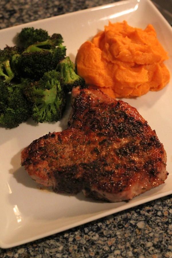 Porkchop, broccoli, sweet potato mash
