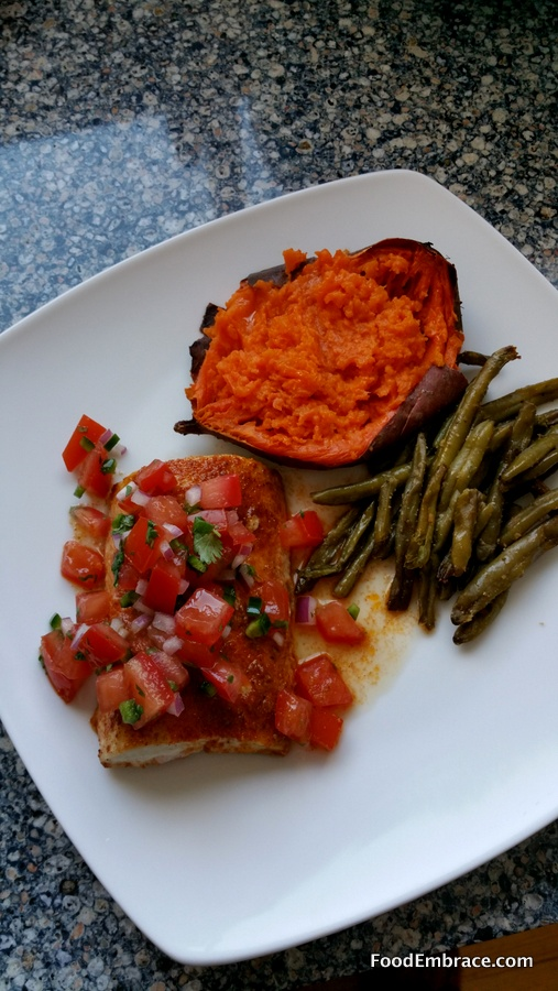 Mahi Mahi, green beans, sweet potato