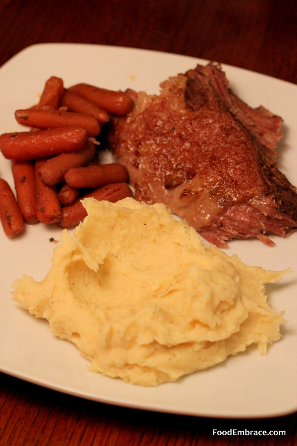 Beef roast, carrots, mashed parsnips