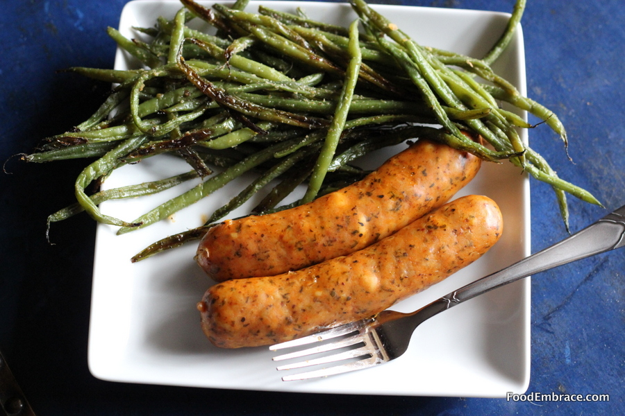 Chicken basil sausage and green beans