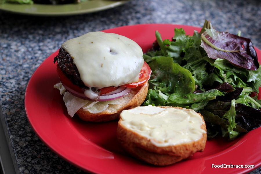 Bruger and salad