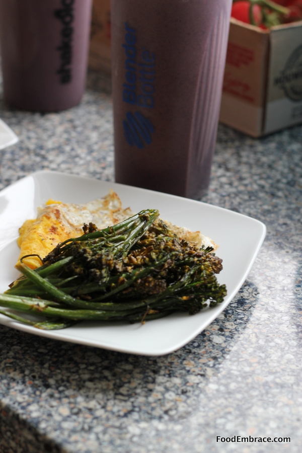 Fried egg and broccolini