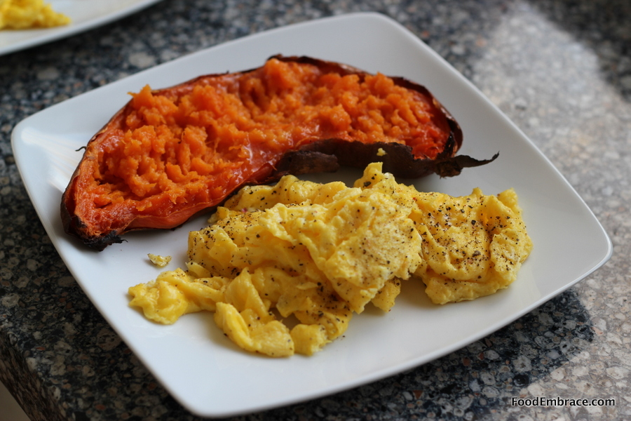 Scrambled eggs and sweet potato