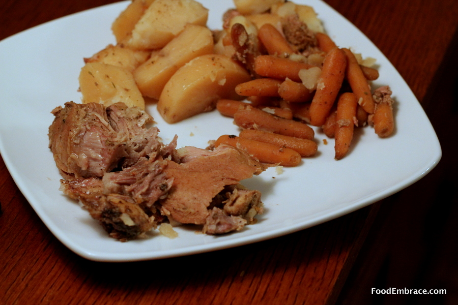 Pork roast, potatoes, and carrots