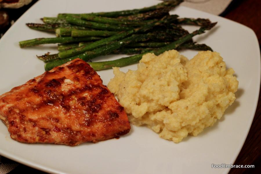 Salmon, asparagus, cauliflower grits