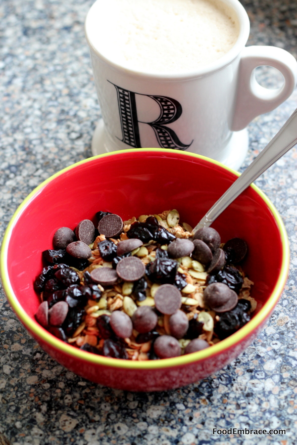 Yogurt bowl and coffee