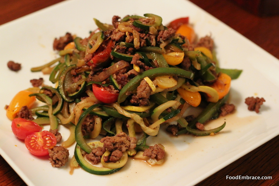 Zoodles with Italian sausage
