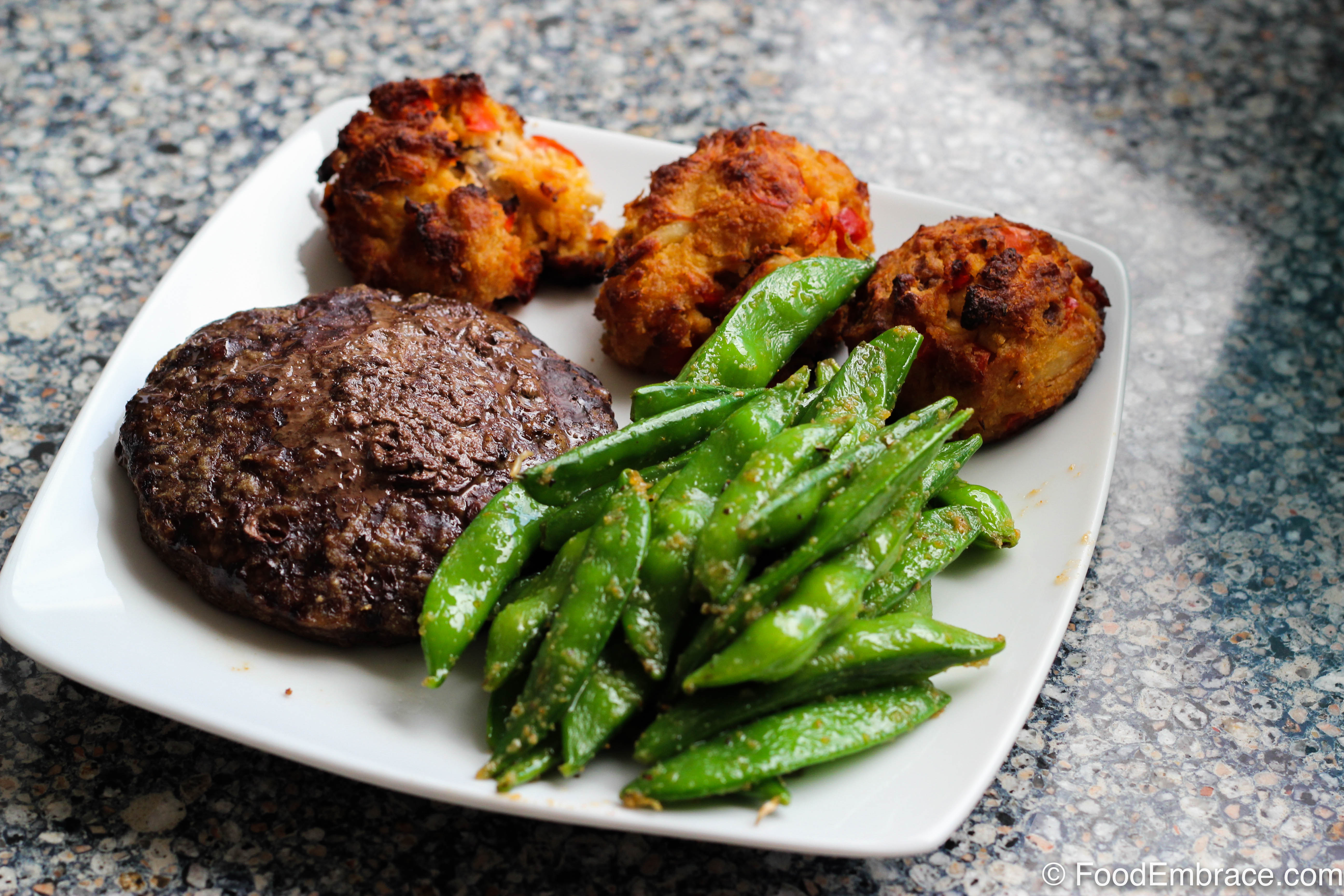 Burger, crab cakes, snap peas