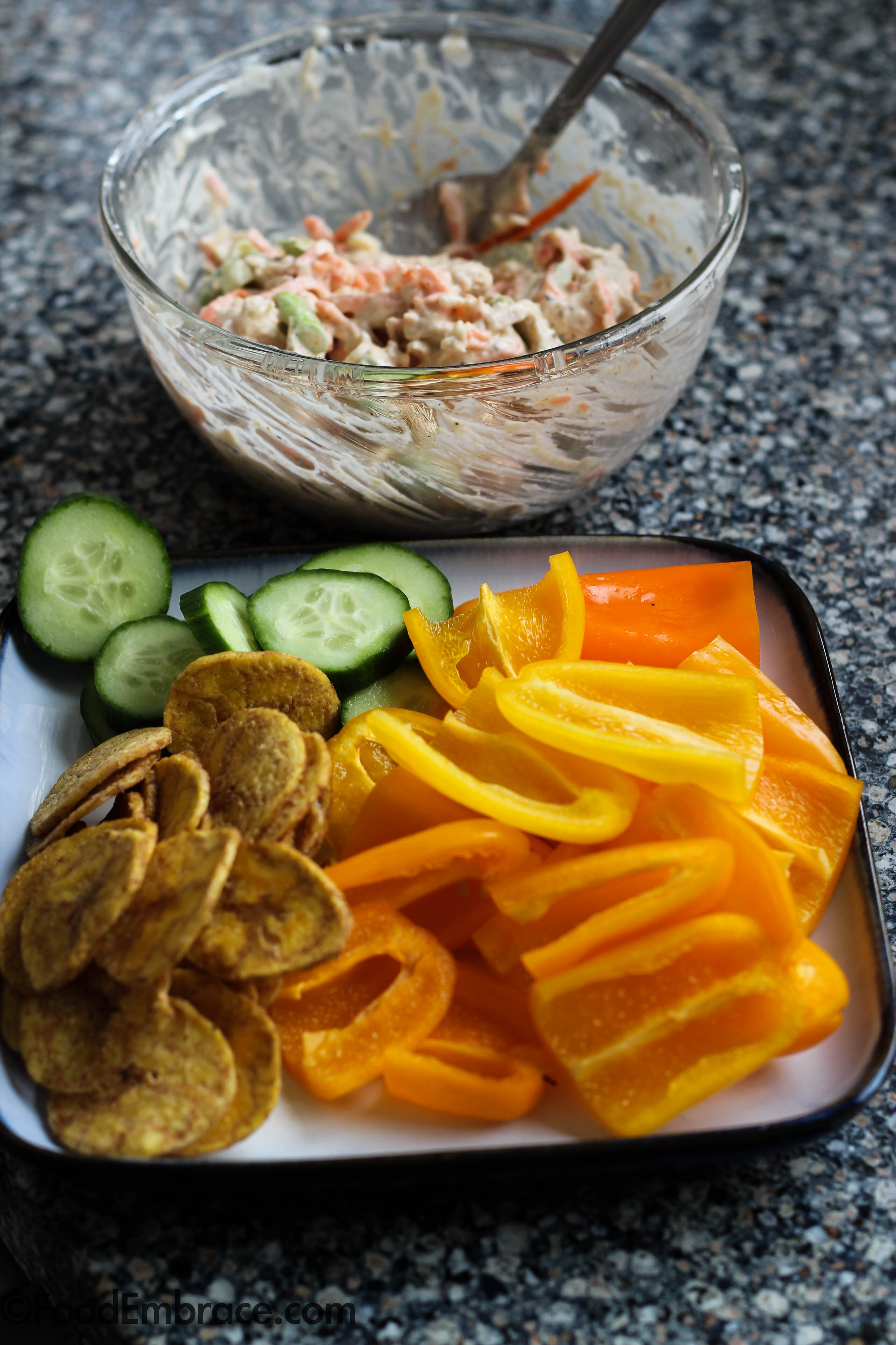 chicken salad, veggies, plantain chips