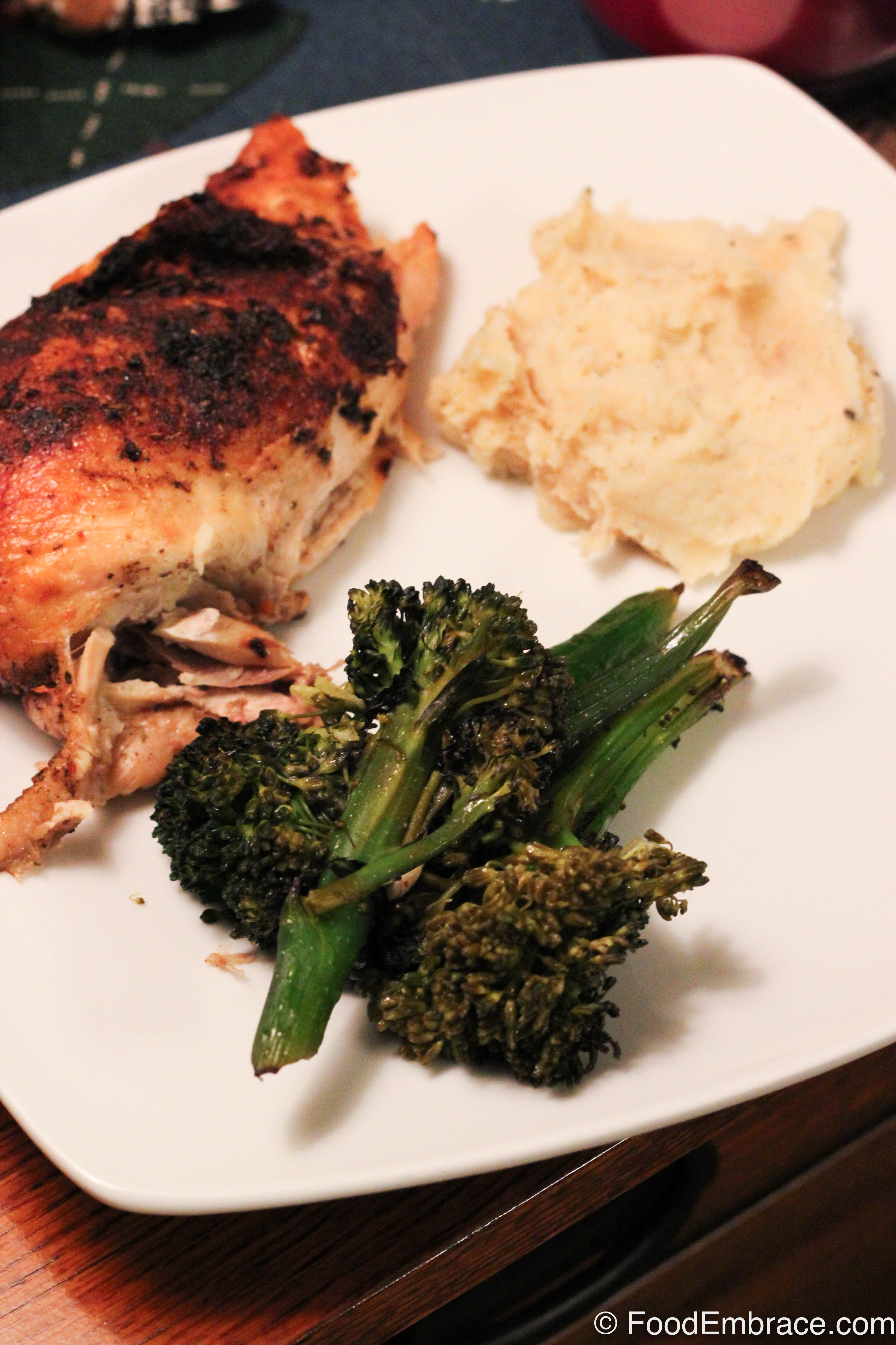 Chicken, broccolini, parsnip mash