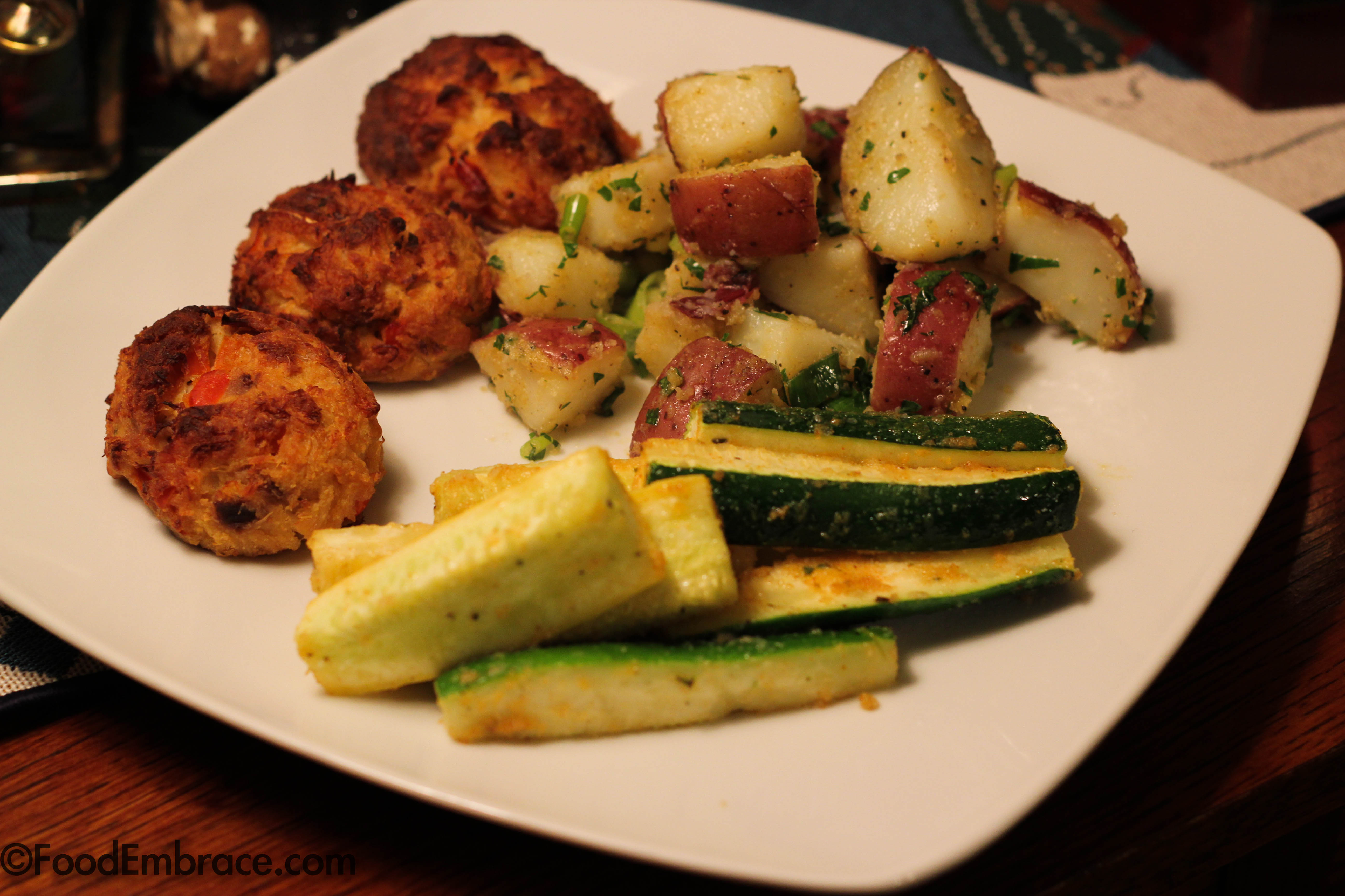 Crab cakes, potatoes, squash