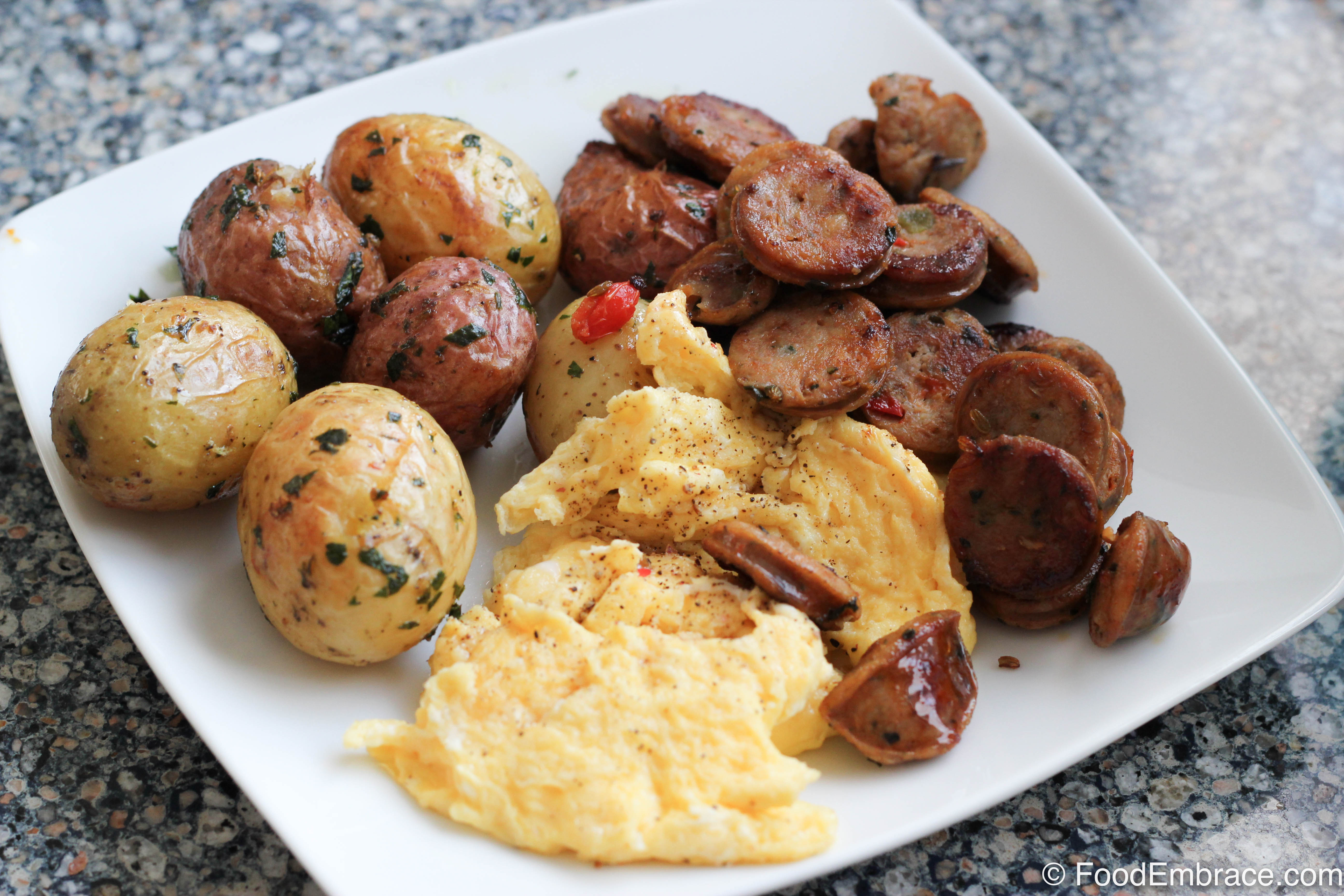 Eggs, potatoes, sausage