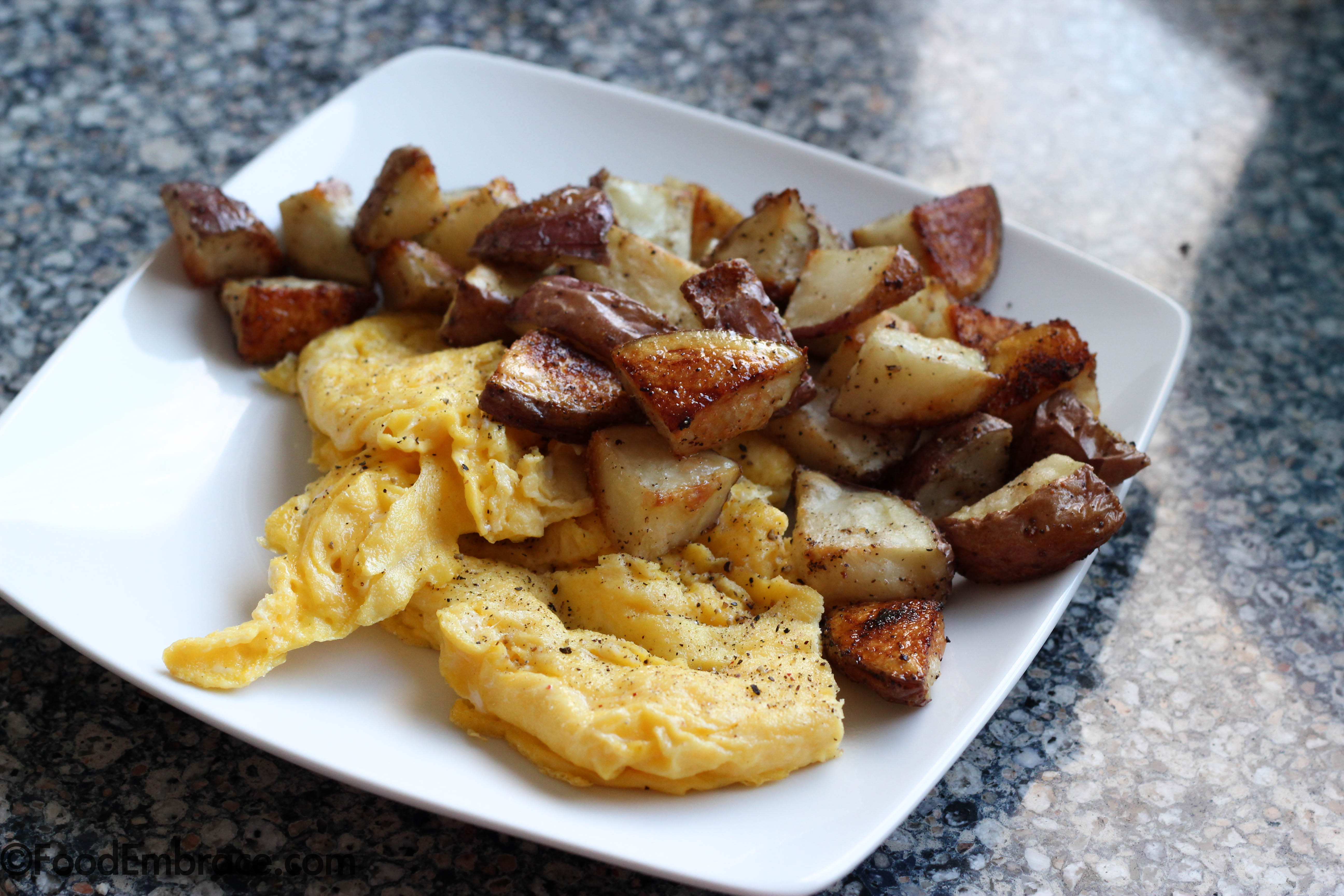 Eggs and roasted potatoes