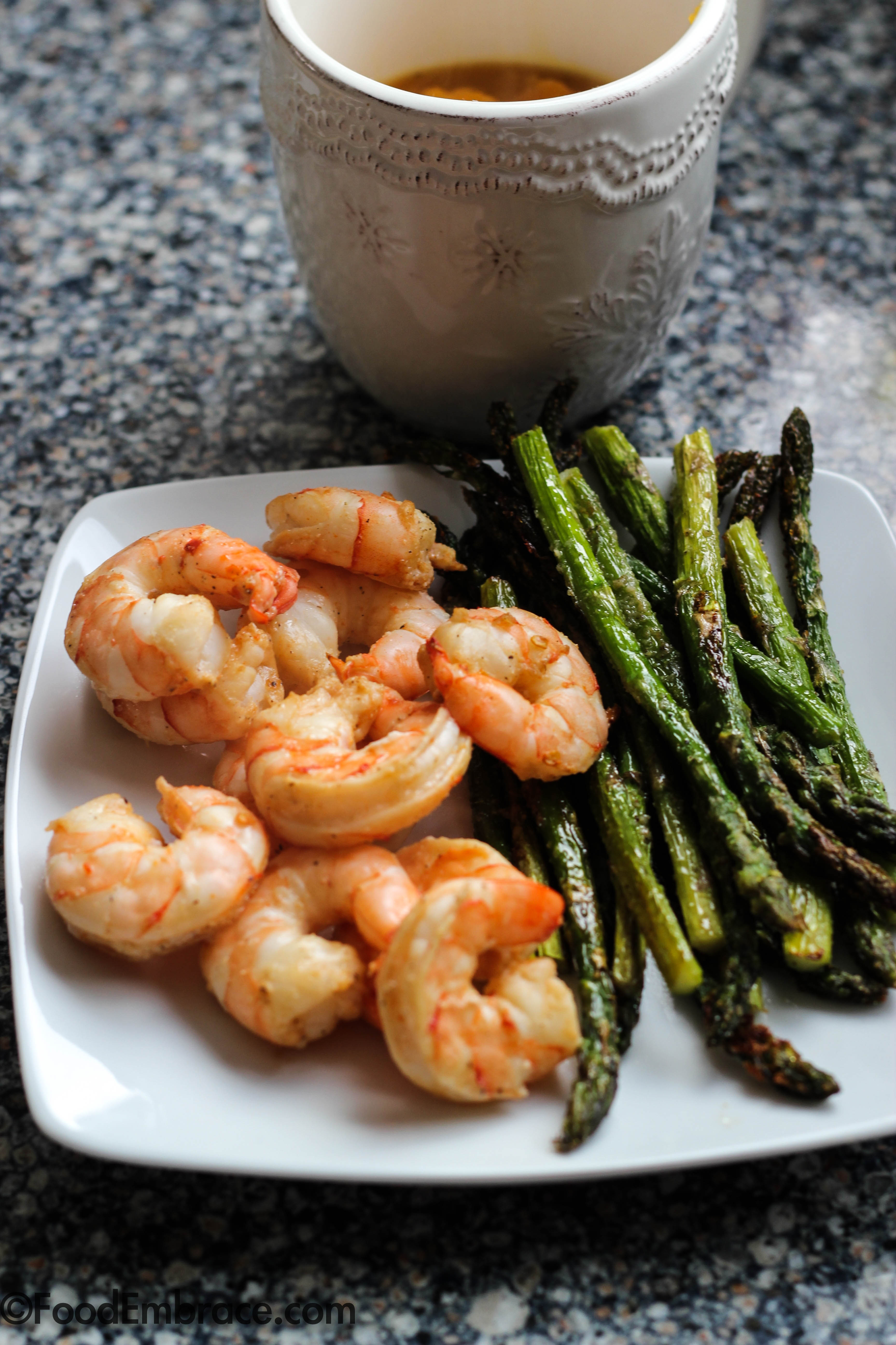 Roasted shrimp, asparagus, soup