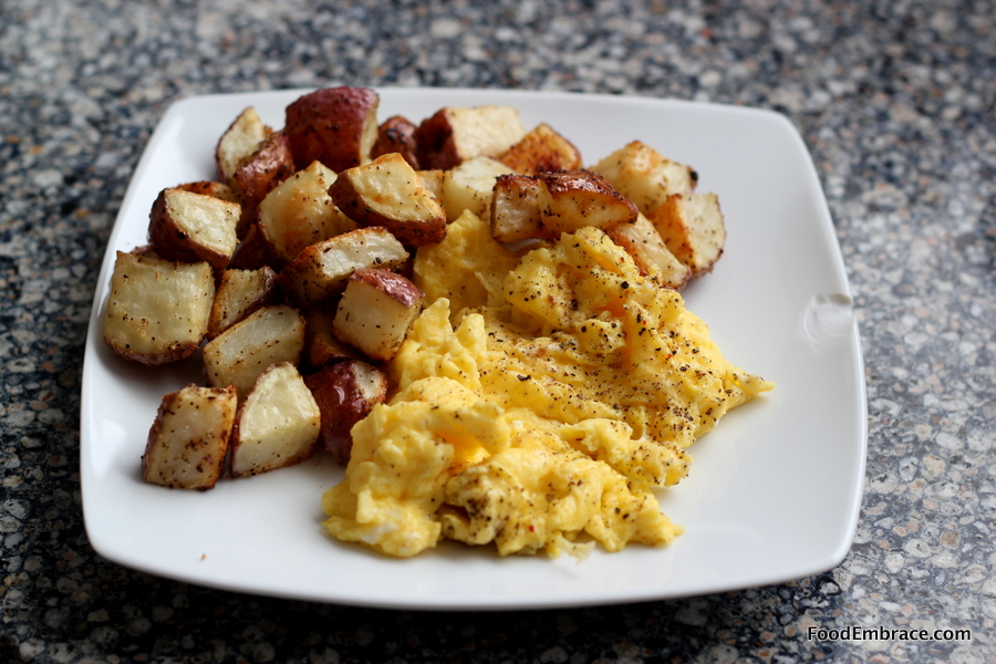 Scrambled Eggs and Roasted Potatoes