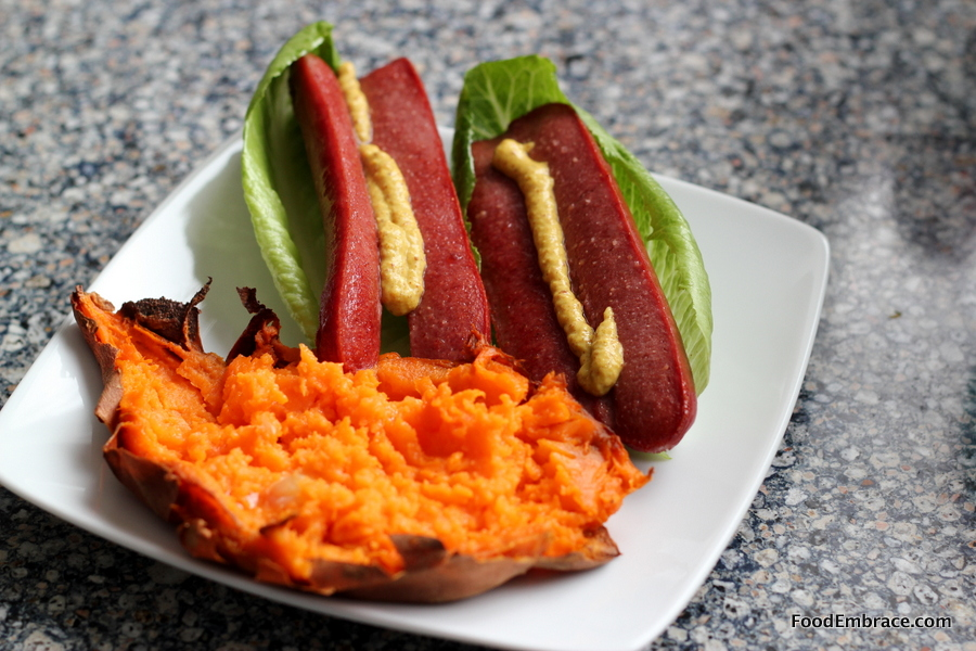 Hotdogs and sweet potato
