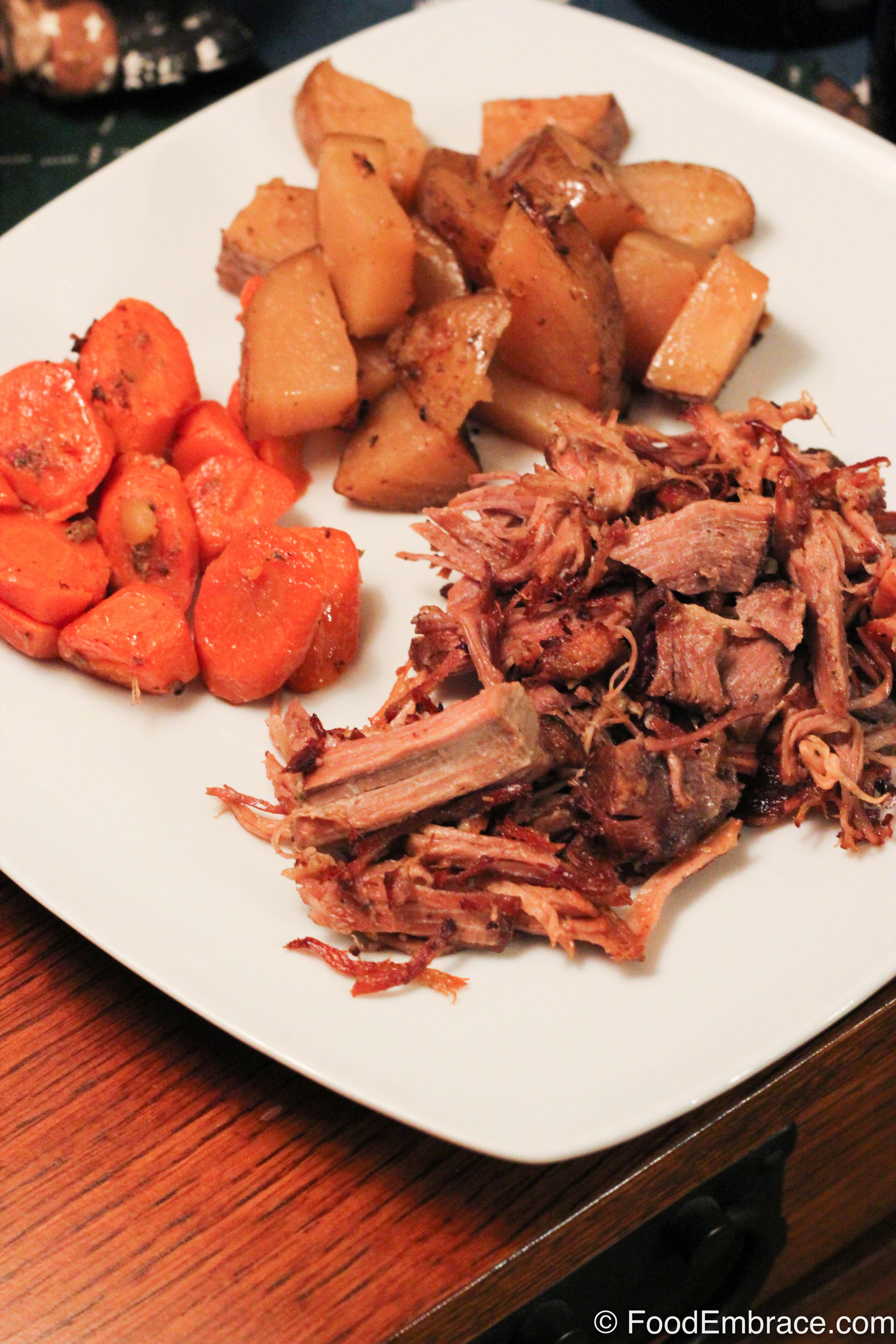 Crispy pork with potatoes and carrots.