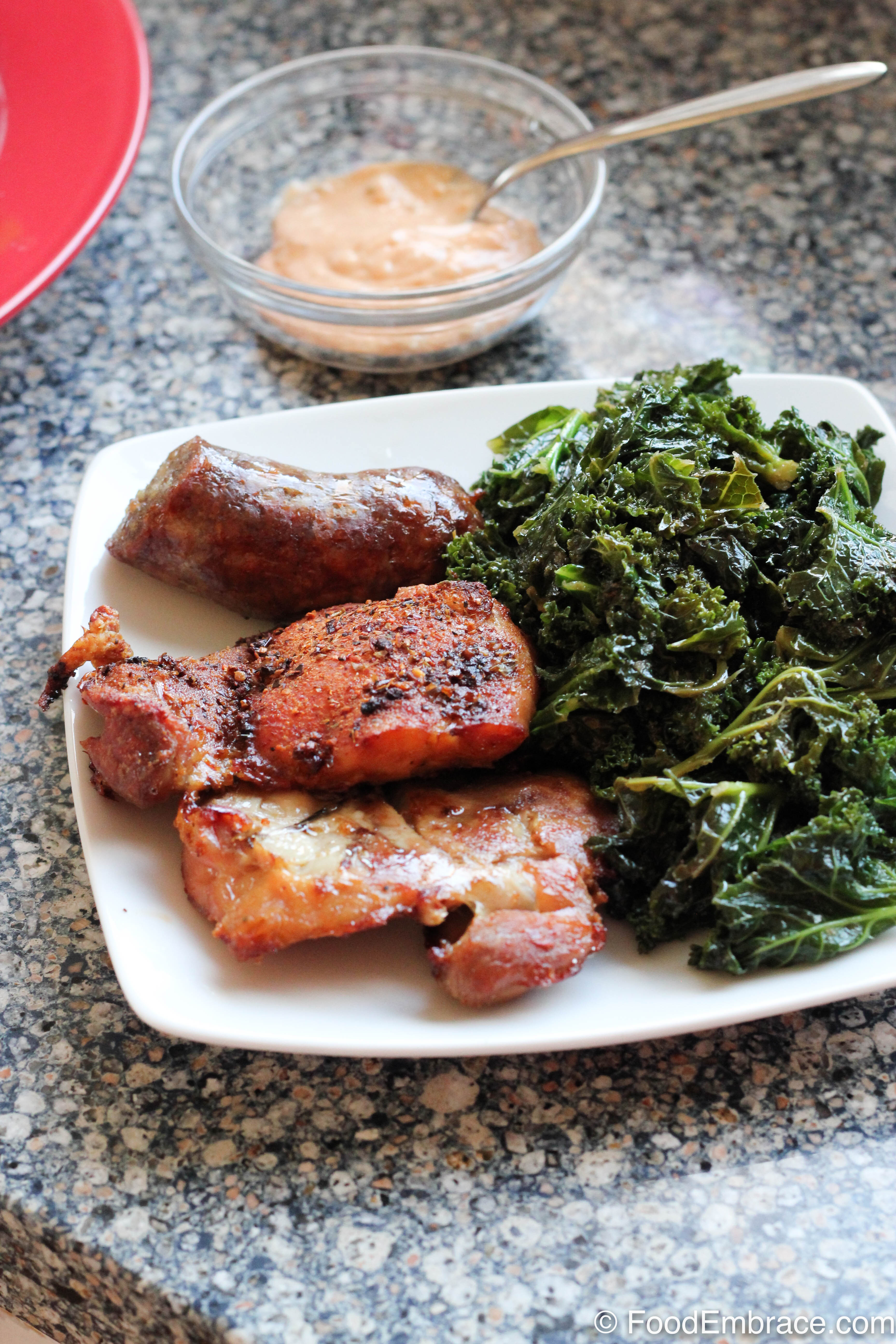 Chicken thighs and kale